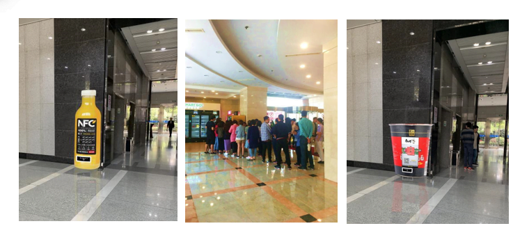 EMPOS deployed in office building often attract consumer to queue for free trail samples.